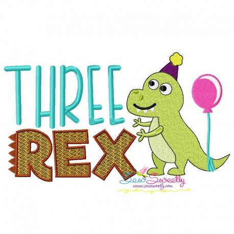 Three Rex Dino 3rd Birthday Embroidery Design