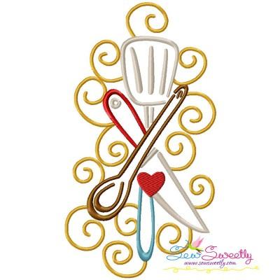 Swirly Kitchen-10 Machine Embroidery Design