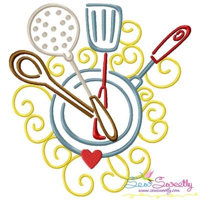Swirly Kitchen-4 Machine Embroidery Design