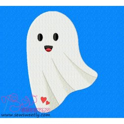 Cute Ghost Embroidery Design
