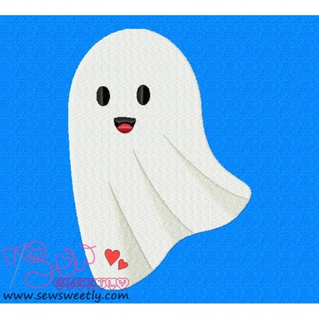 Cute Ghost Embroidery Design Pattern- Category- Halloween Designs- 1
