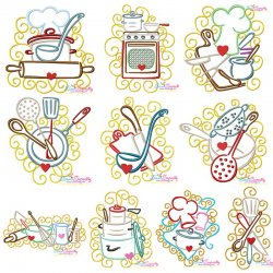Swirly Kitchen Machine Embroidery Design Bundle