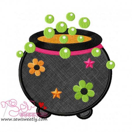 Halloween Cauldron Applique Design