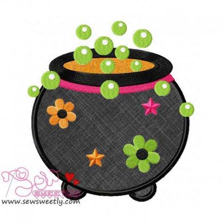 Halloween Cauldron Applique Design Pattern- Category- Halloween Designs- 1