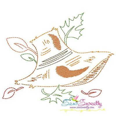 Fall Hat Bean/Vintage Stitch Machine Embroidery Design