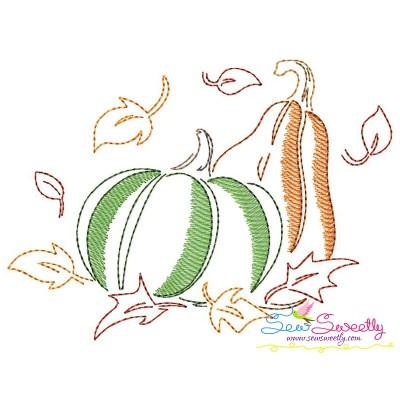Fall Pumpkin Bean/Vintage Stitch Machine Embroidery Design