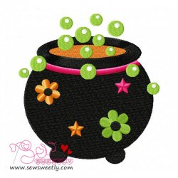 Halloween Cauldron Embroidery Design