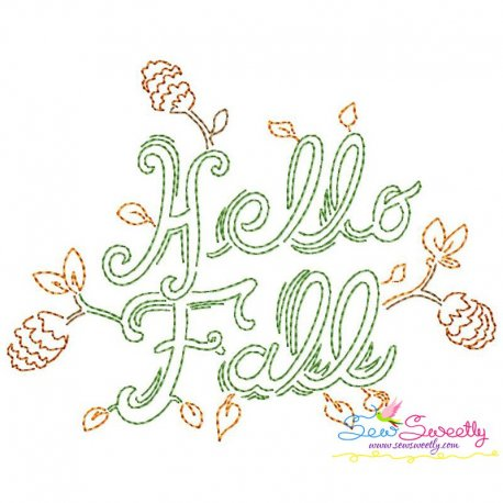 Hello Fall Bean/Vintage Stitch Machine Embroidery Design Pattern- Category- Fall And Thanksgiving- 1
