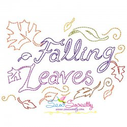 Falling Leaves lettering Bean/Vintage Stitch Machine Embroidery Design Pattern- Category- Fall And Thanksgiving- 1