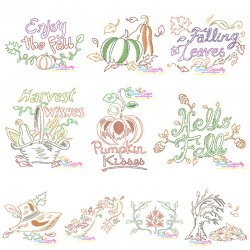 Fall/Autumn Bean/Vintage Stitch Embroidery Design Bundle