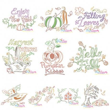 Fall/Autumn Bean/Vintage Stitch Embroidery Design Bundle Pattern- Category- Embroidery Design Bundles- 1