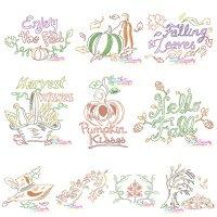 Fall/Autumn Bean/Vintage Stitch Embroidery Design Bundle