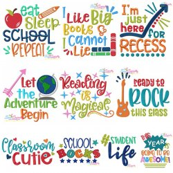 Back To School Lettering Machine Embroidery Design Bundle