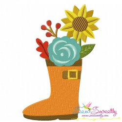 Rain Boot With Fall Flowers Embroidery Design