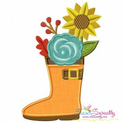 Rain Boot With Fall Flowers Applique Design
