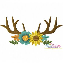 Antlers With Flowers Machine Embroidery Design