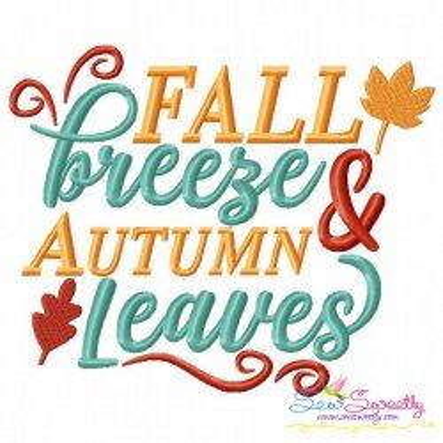 Fall Breeze Autumn Leaves Machine Embroidery Design