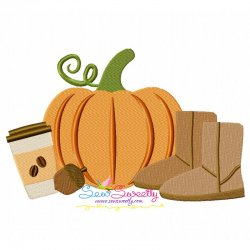 Pumpkin Boots Coffee Machine Embroidery Design