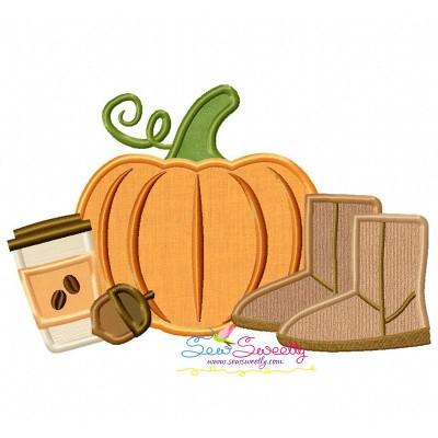 Pumpkin Boots Coffee Applique Design