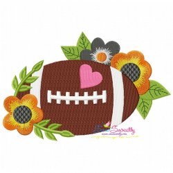 Football Flowers Machine Embroidery Design