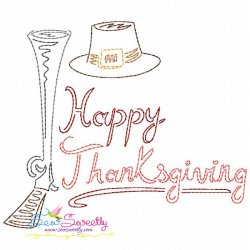 Color Work Happy Thanksgiving Bean/Vintage Stitch Machine Embroidery Design Pattern- Category- Fall And Thanksgiving- 1
