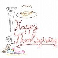 Color Work Happy Thanksgiving Bean/Vintage Stitch Machine Embroidery Design