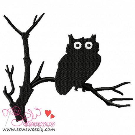 Owl Silhouette-2 Embroidery Design
