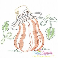 Color Work Pumpkin With Hat Bean/Vintage Stitch Machine Embroidery Design Pattern- Category- Fall And Thanksgiving- 1