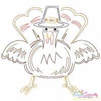 Color Work Thanksgiving Turkey Bean/Vintage Stitch Machine Embroidery Design