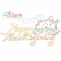 Color Work Happy Thanksgiving-2 Bean/Vintage Stitch Machine Embroidery Design Pattern- Category- Fall And Thanksgiving- 1