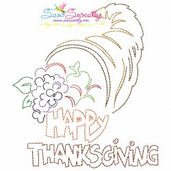 Color Work Happy Thanksgiving-3 Bean/Vintage Stitch Machine Embroidery Design