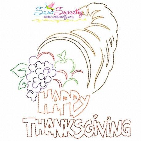 Happy Thanksgiving-3 Bean/Vintage Stitch Machine Embroidery Design