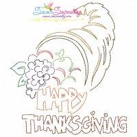 Color Work Happy Thanksgiving-3 Bean/Vintage Stitch Machine Embroidery Design