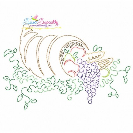 Color Work Thanksgiving-1 Bean/Vintage Stitch Machine Embroidery Design Pattern- Category- Fall And Thanksgiving- 1