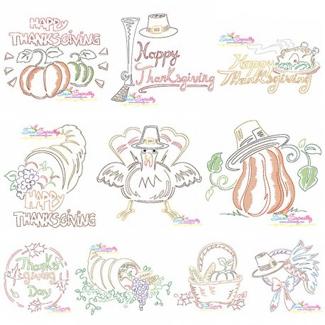 Color Work Thanksgiving Bean/Vintage Stitch Machine Embroidery Design Bundle