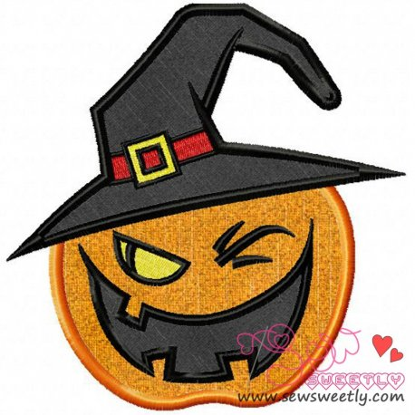 Witchy Pumpkin Applique Design Pattern- Category- Halloween Designs- 1