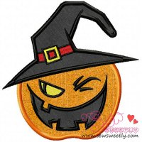 Witchy Pumpkin Applique Design
