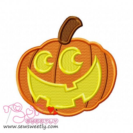Smiley Pumpkin Embroidery Design Pattern- Category- Halloween Designs- 1