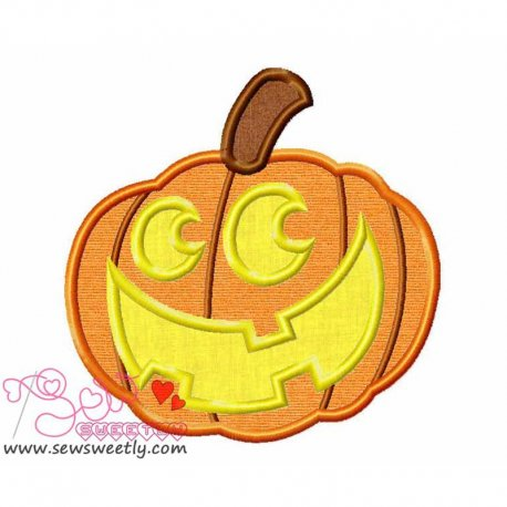 Smily Pumpkin Applique Design