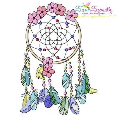 Floral Dream Catcher-5 Machine Embroidery Design