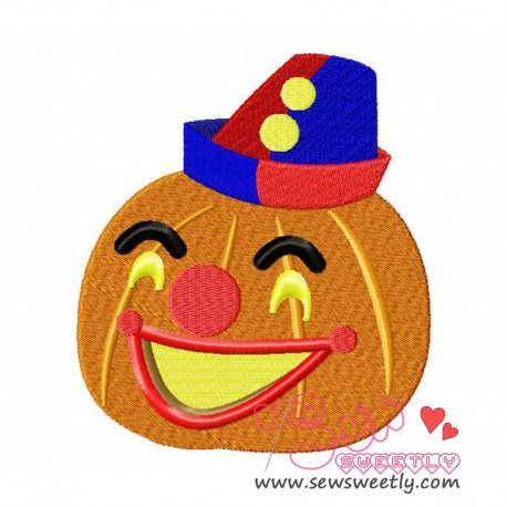 Clown Pumpkin Embroidery Design