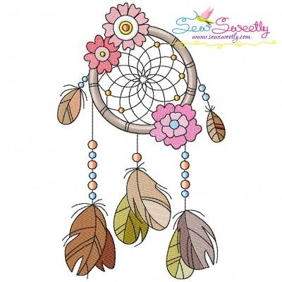 Floral Dream Catcher-1 Machine Embroidery Design