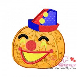 Clown Pumpkin Applique Design