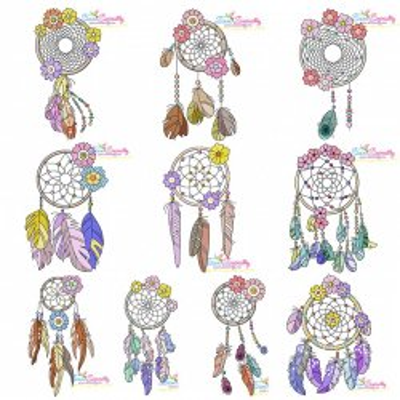 Floral Dream Catchers Machine Embroidery Design Bundle