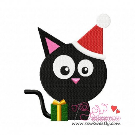 Xmas Cat-2 Embroidery Design Pattern- Category- Halloween Designs- 1