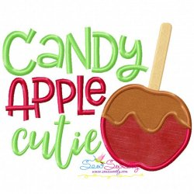 Candy Apple Cutie Lettering Applique Design