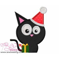 Xmas Cat-2 Applique Design