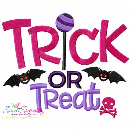 Trick or Treat-3 Lettering Machine Embroidery Design Pattern- Category- Halloween Designs- 1