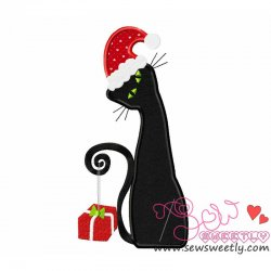 Xmas Cat-1 Applique Design