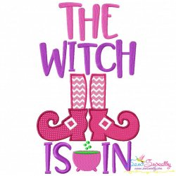 The Witch Is In Halloween Lettering Embroidery Design